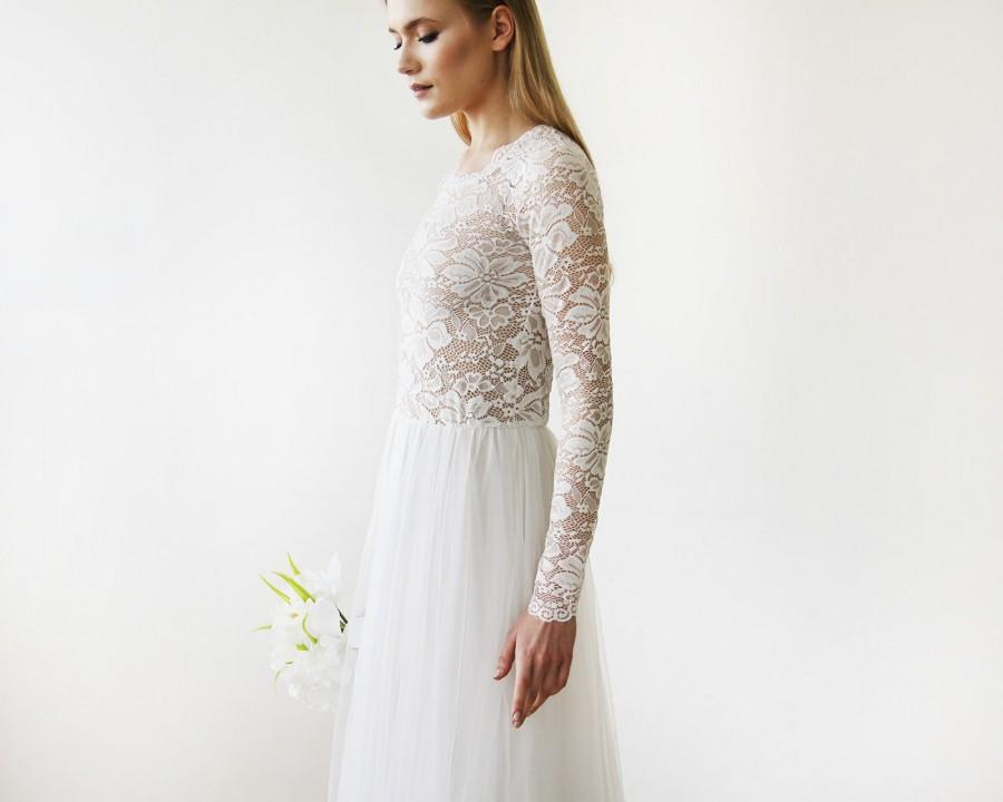 Wedding - Round Neck-Line Long Sleeves Sheer Lace and Maxi Tulle, Tulle and Lace bridal gown 1152
