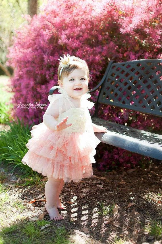 Wedding - Ivory and Coral Tutu Dress, Baby Girl Wedding Dress, Toddler Coral Tutu Dress, Ivory Toddler Girl Dress,Girls Party Dress,Girls Easter Dress