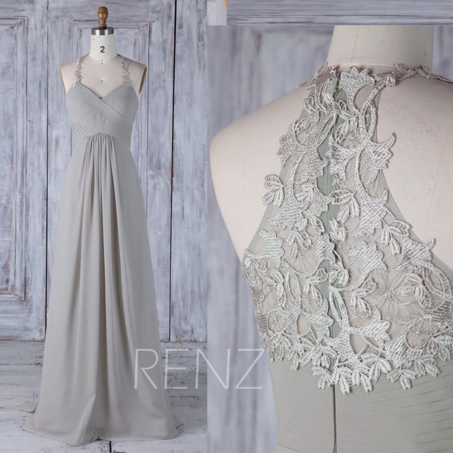 Nozze - 2017 Gray Chiffon Bridesmaid Dress Empire, Ruched Sweetheart Wedding Dress with Halter, Lace Back A Line Prom Dress Floor Length (H440)