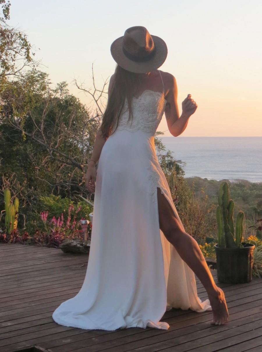 Wedding - Sexy Wedding Dress,  Beach Wedding Dress, A Line Wedding Dress, Bridal Dress, bridal gown, wedding dress train, Wedding Gown, Lace Top Dress