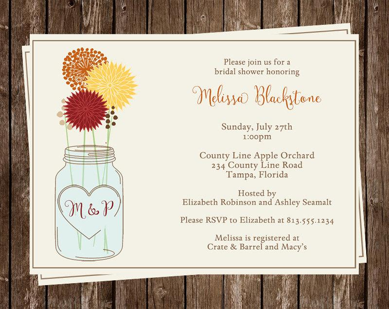 Hochzeit - Mason Jar Bridal Shower Invitations, Fall, Orange, Yellow, Red, Wedding, Set of 10 Printed Cards, FREE Ship, MAJAA, Mason Jar Autumn Breeze
