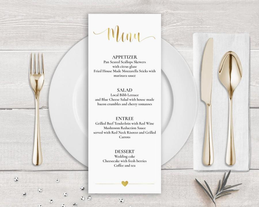 Gold Menu Template Faux Gold Wedding Menu Card Template Gold