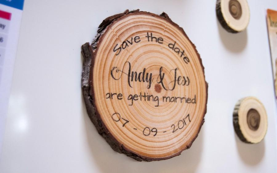 Wood Slice Save The Date Magnets