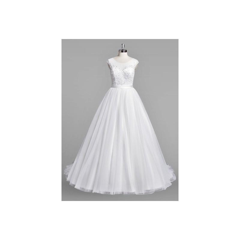 Mariage - White Azazie Doreen BG - Button Illusion Sweep Train Satin, Tulle And Lace Dress - Cheap Gorgeous Bridesmaids Store