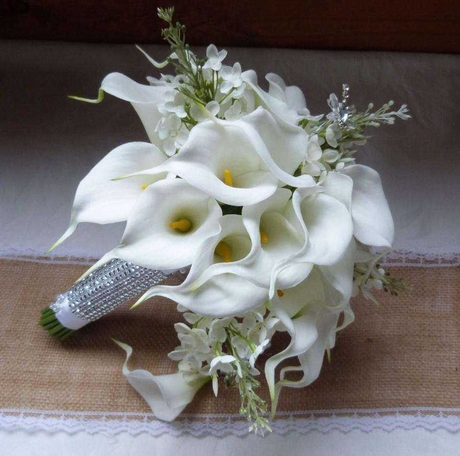 White calla lily wedding bouquet real touch mini white calla lily white calla lily wedding bouquet real touch mini white calla lily and creme lilac bridal bouquet izmirmasajfo