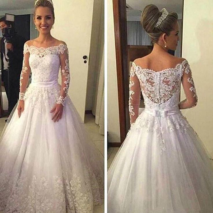 Cheap Vantage Off Shoulder Long Sleeve White Lace Tulle Wedding Party Dresses WD0015 2723995