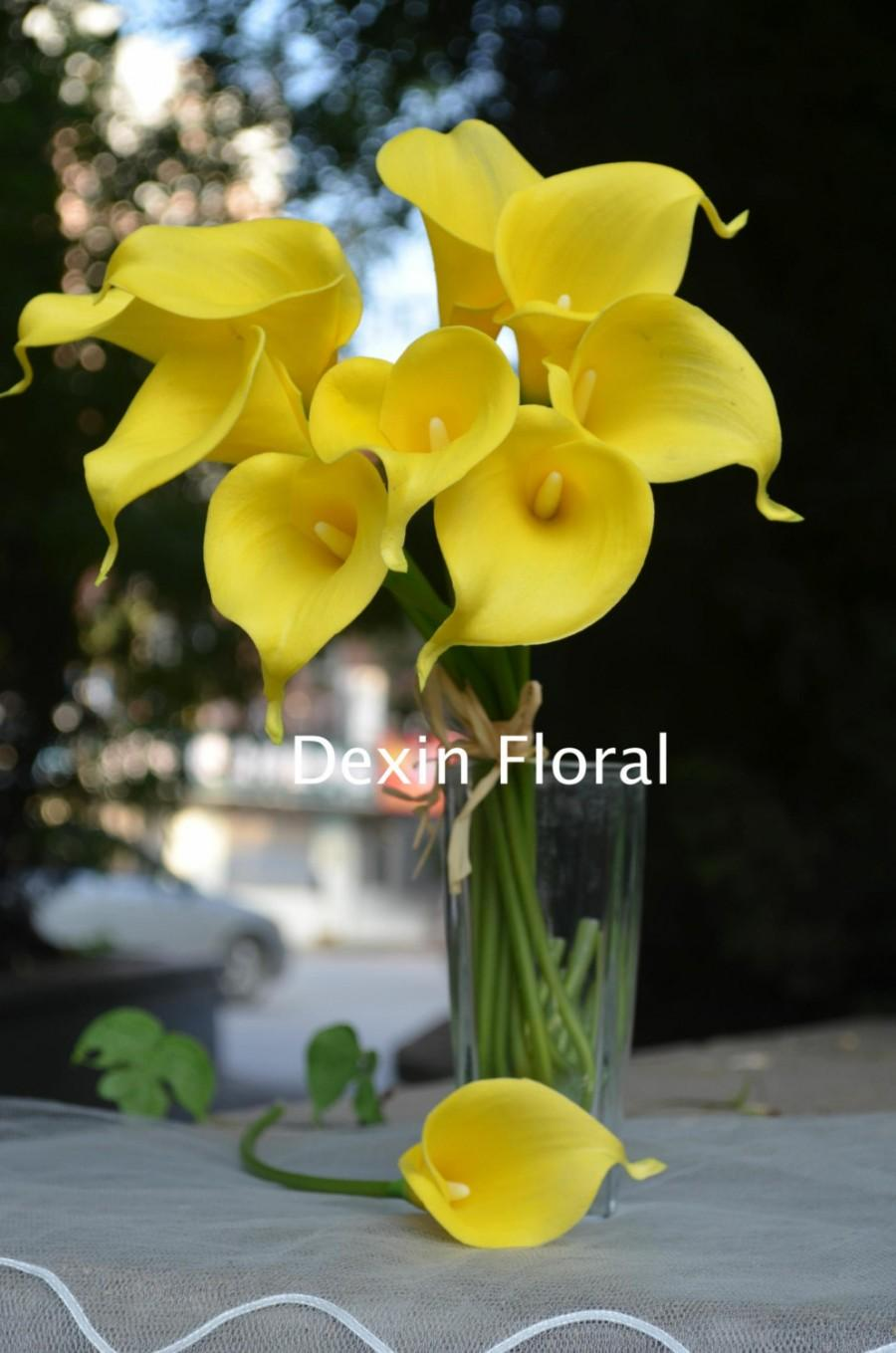 Hochzeit - 9 stems Yellow Calla Lily Real Touch Flowers for Wedding Bridal Bouquets, Centerpieces, Decorations