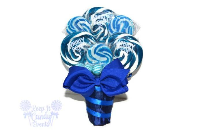 Royal Blue Lollipop Bouquet, Navy Candy Bouquet, Navy Wedding, Royal ...