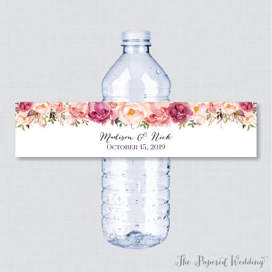 Printable Or Printed Wedding Water Bottle Labels Rustic Pink