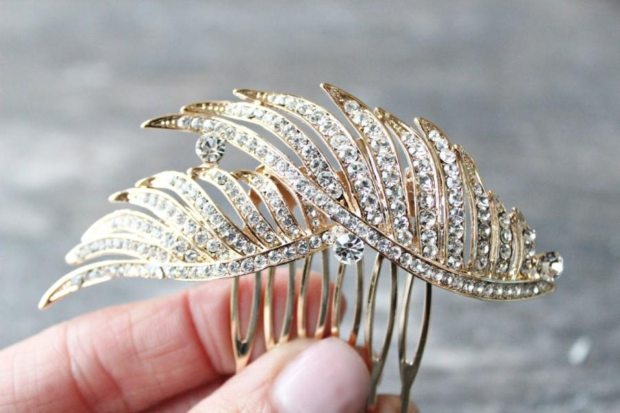 Свадьба - Gold Hair Comb, Gold Crystal Bridal Hair Comb,Swarovski Crystal Gilded Wedding Hair Comb ,Diamante Hair Comb, Gilded Wings of a Feather Comb