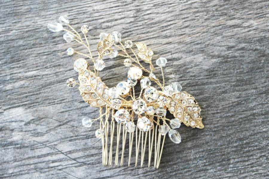 Mariage - Gold Leaves Bridal Hair Comb, Gold Crystal Bridal Hair Comb, Gilded Leaves Hair Comb- FERONIA, Swarovski Crystal Bridal Hair Comb