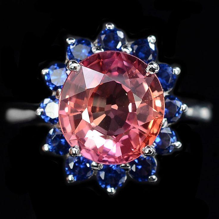 Düğün - Vintage 4.45CT Oval Cut Pink Padparadscha Sapphire Blue Sapphire Halo Ring