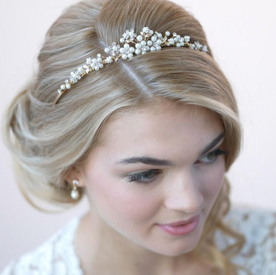 Wedding - Pearl Gold Tiara, Bridal Hair Accessory, Gold Tiara, Pearl Bridal Crown, Wedding Crown, Bridal Headpiece, Rhinestone Bridal Tiara ~TI-723-G