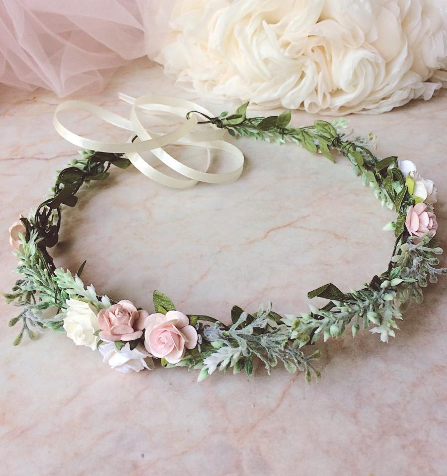 Свадьба - Pale pink crown Pale flower crown Blush pink floral crown Pale pink Headband Blush pink crown Blush pink headband Festival flower crown