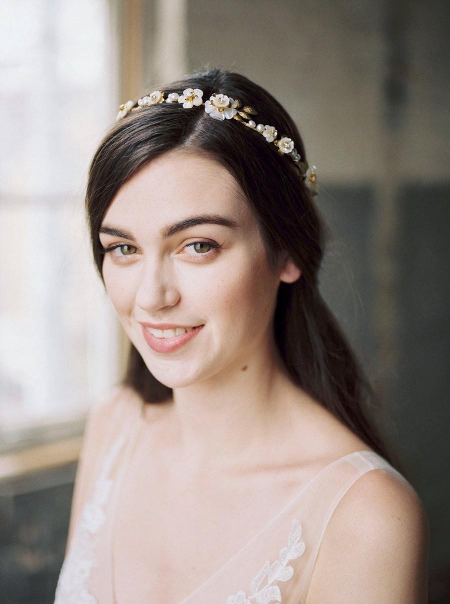 Wedding - gold flower crown, bridal headpiece, gold floral crown, wedding headpiece, gold headpiece, gold wedding hair accessory, hair vine - TAMSIN
