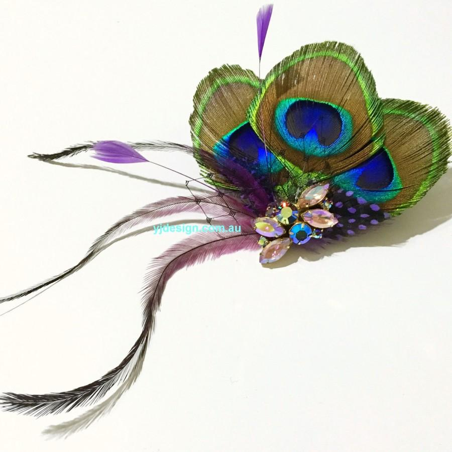 Mariage - Peacock Wedding Fascinator, Boho Bridal Headpiece, Purple Feather Hair Clip, Upcycled Vintage Hair Jewelry, Bohemian Wedding Gift for Her