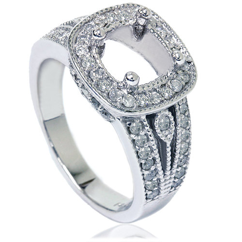 زفاف - 3/4CT Cushion Halo Diamond Engagement Ring Setting White Gold Semi Mount Vintage