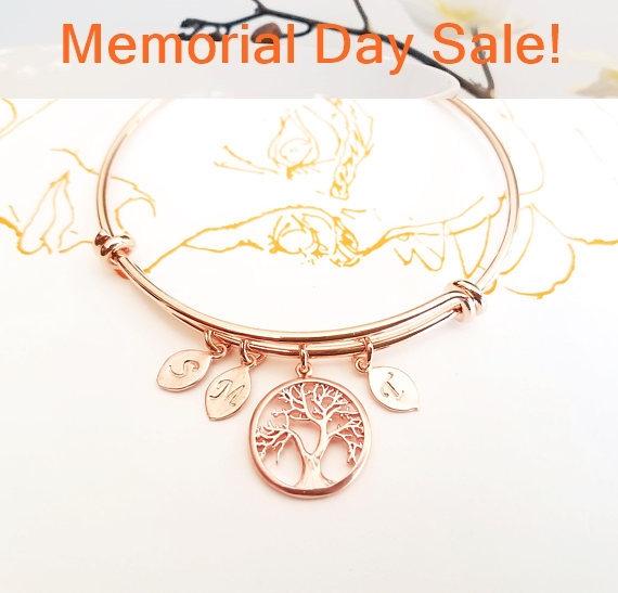 زفاف - ROSE GOLD Bracelet, Personalized Family tree bracelet, Mothers Day From Daughter,  Personalized Mom Jewelry, Gift for Mother, Wedding Gift