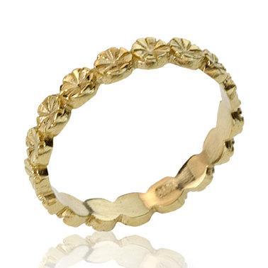 زفاف - Engraved Polished Daisy 14K Gold Wedding Band, Floral Wedding Ring, Daisy Ring, Wedding Band, Flower Stacking Ring, Gift for Her, Gift Ideas