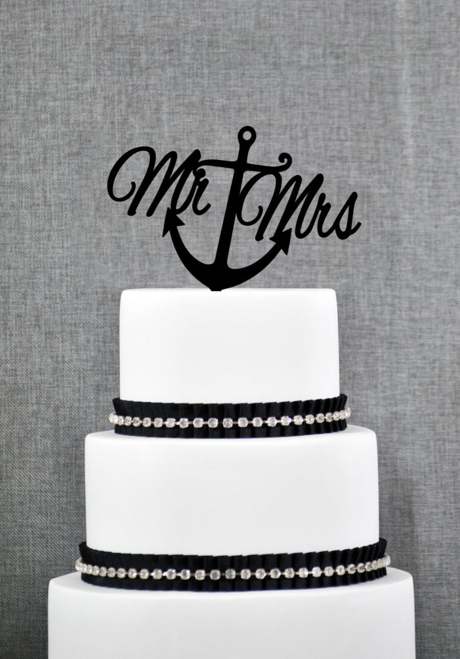 Mariage - Nautical Mr and Mrs Cake Topper with Anchor – Nautical Wedding Cake Topper Available in 15 Colors and 6 Glitter Options- (T078)