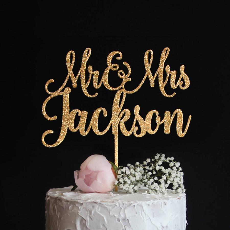 Свадьба - Custom Wedding Cake Topper with your Last Name