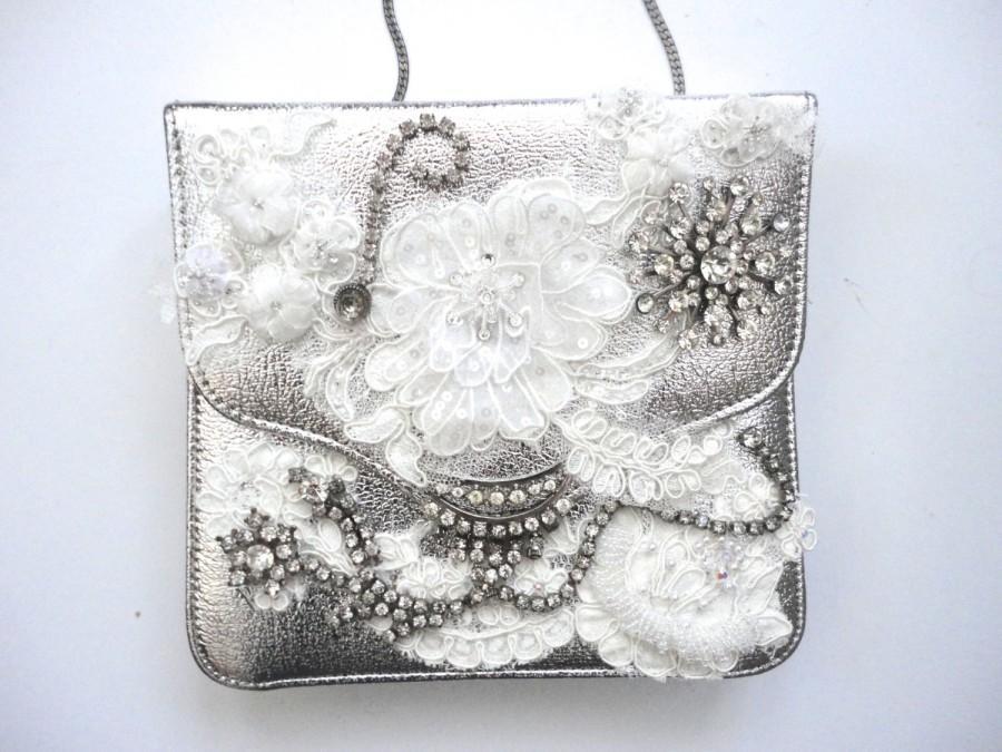 Свадьба - Silver Leather Statement Handbag, Bling Handbag, Rhinestone Decorated Fancy Purse, Shoulder Bag Wedding Handbag, Vintage Party Purse