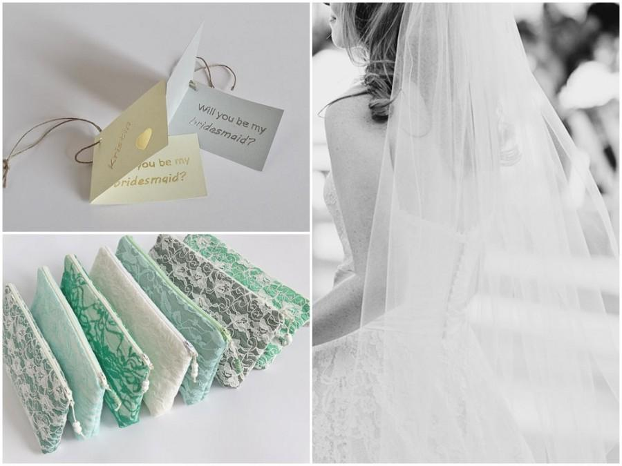 Свадьба - Team Bride Lace Set of 7 Wedding Clutches for Bride and Bridesmaids ON A BUDGET Gifts, Asking Will You Be My Bridesmaid