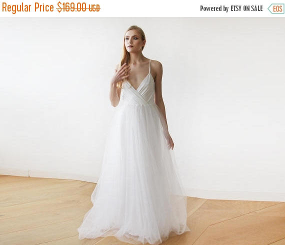 Wedding - 25% OFF Ivory straps wrap tulle maxi dress, Fairy tulle wedding gown, Affordable wedding gown 1053