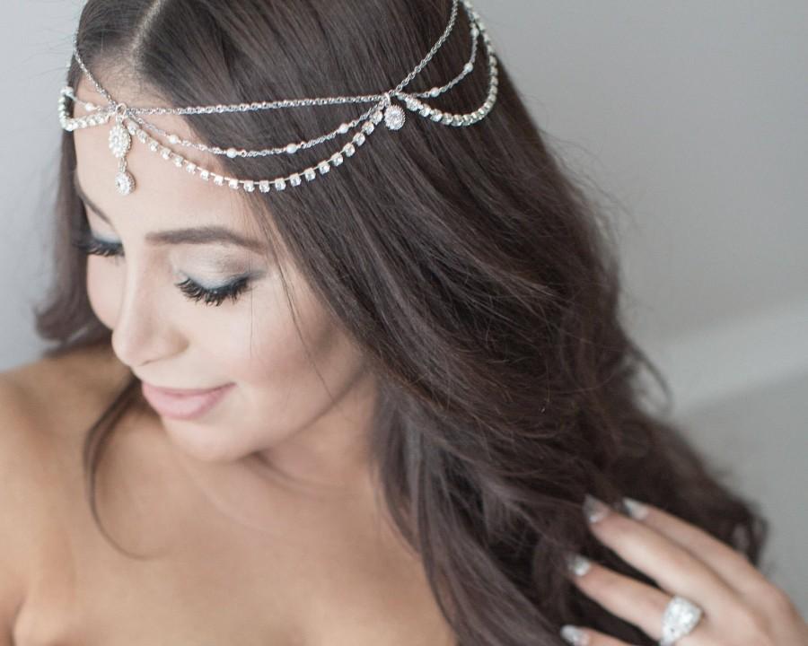 Свадьба - Bridal Head Chain, Bridal Headpiece, Boho Bridal Headchain, Boho Head Piece