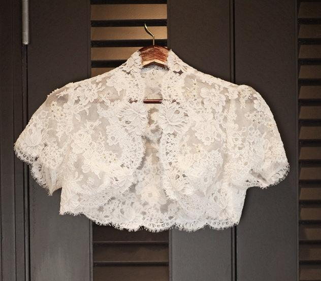 زفاف - Lace Wedding Bolero- Custom Alencon Lace