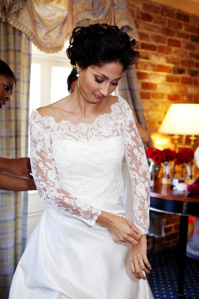زفاف - Lace Bridal Bolero - Custom Alencon Lace Off Shoulder Bolero