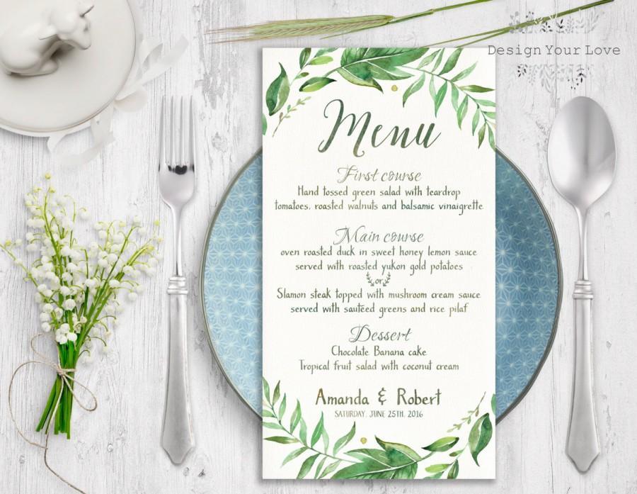 Hochzeit - leafy wedding menu printable wedding menu green wedding menu greenery wreath wedding menu leafy wreath menu watercolor greenery printable
