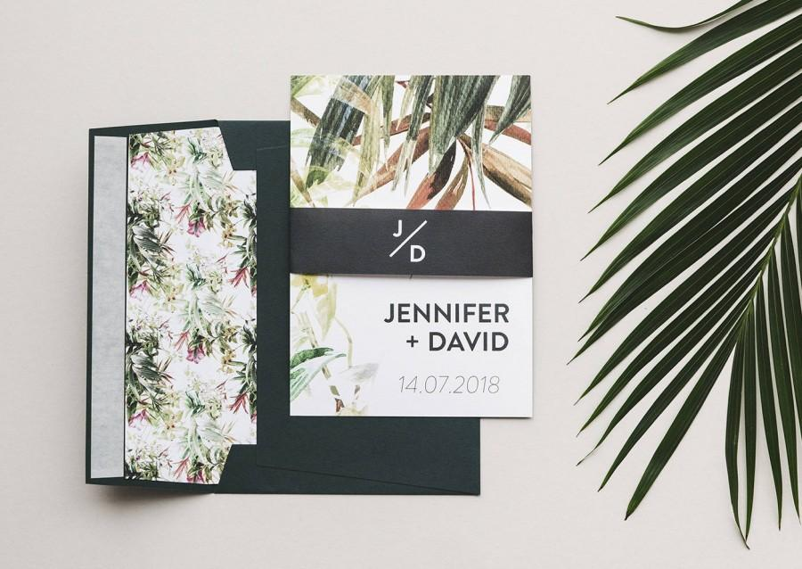 Wedding Invitation Set - Greenery Wedding Invitations - Tropical ...
