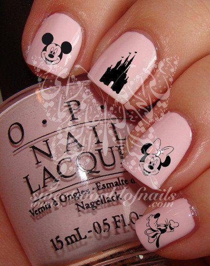 زفاف - Disney Nail Art Mickey Mouse Minnie Mouse Disney Castle Goofy Nail Water Decals
