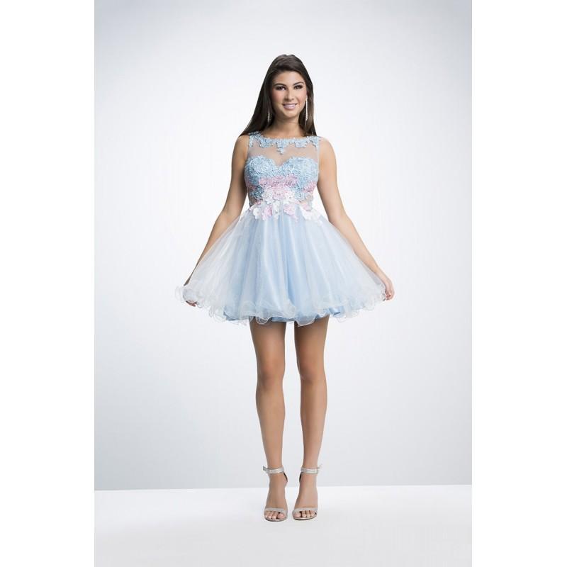 زفاف - Lime by Riva Designs L665 White/Multi,Periwinkle/ Dress - The Unique Prom Store