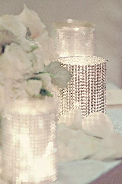 Mariage - Set of (15) Centerpices Rhinestone Mesh Wrap Glass Cylinder Vases for Weddings or Special Event