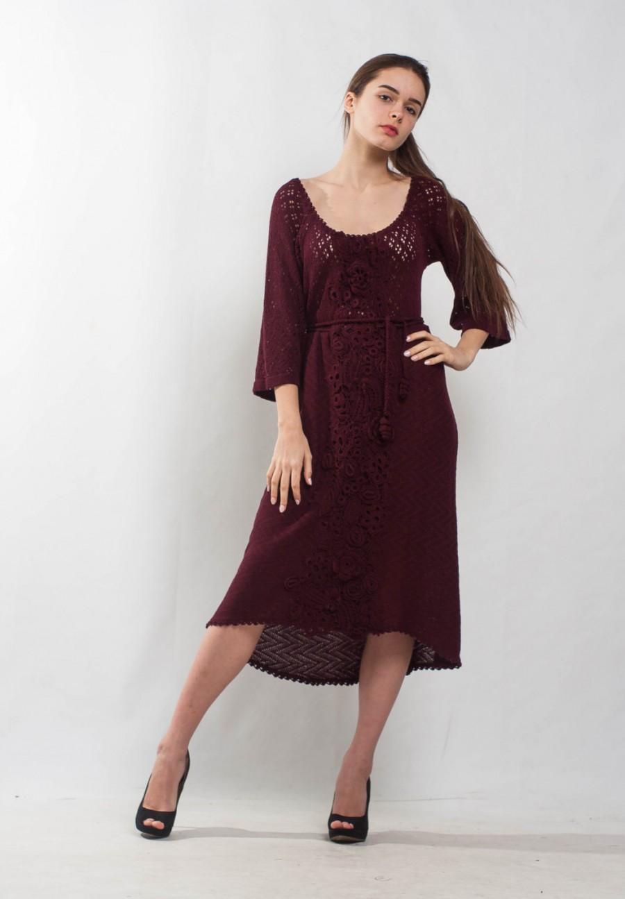 زفاف - Marsala Crochet dress KNIT cocktail mini Dress lace viscose dress prom Crochet wine Dress evening dress bordeaux Dress irish lace Dress