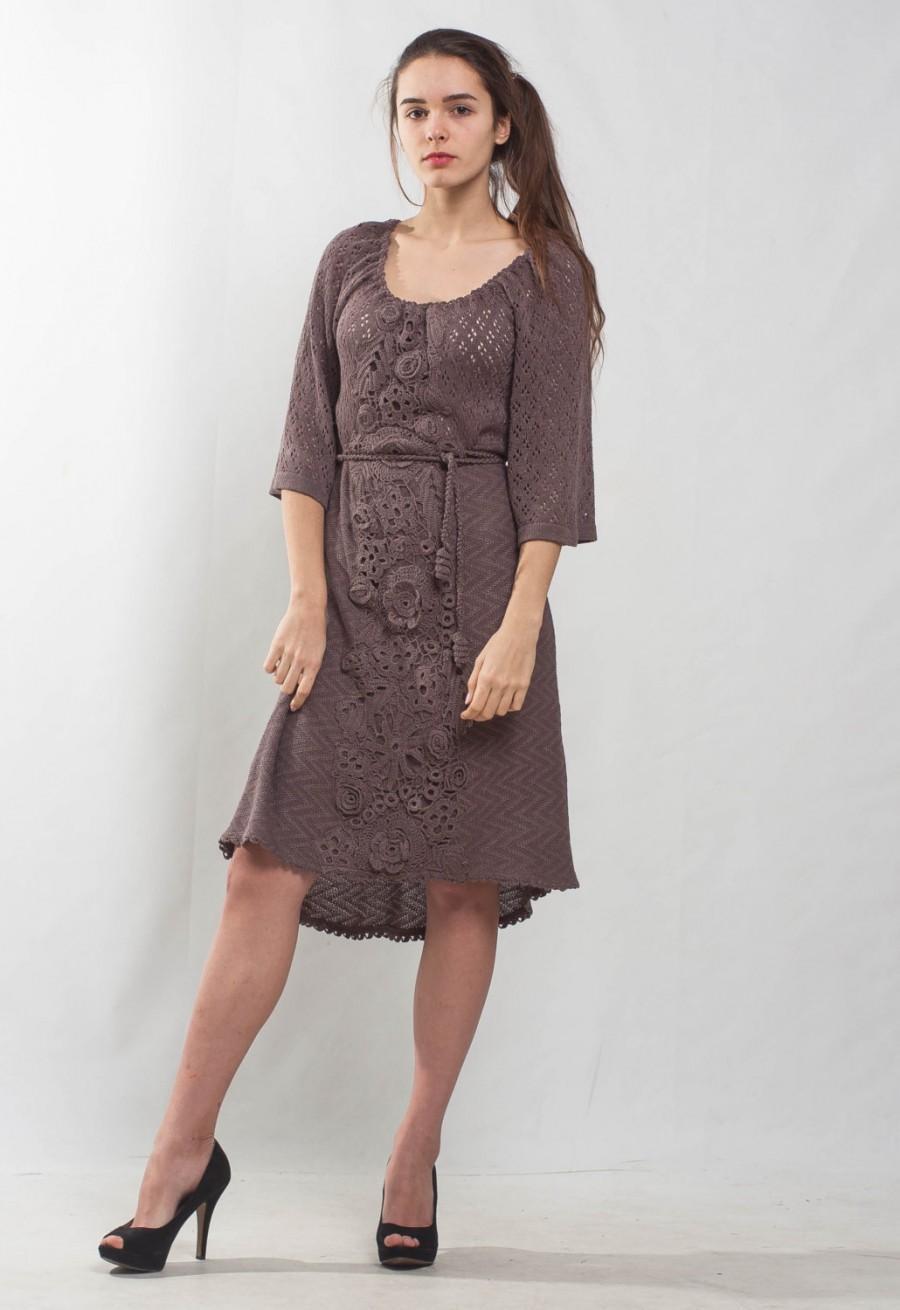 زفاف - Irish lace crochet dress KNIT cocktail mini Dress lace viscose dress prom Crochet mocha Dress evening asymmetric dress irish lace Dress
