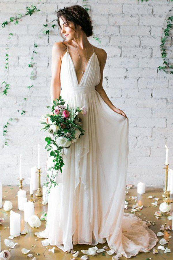 Wedding - Simple Backless Beach Wedding Dresses, Chiffon Long Custom Wedding Gowns, Affordable Bridal Dresses, 17098