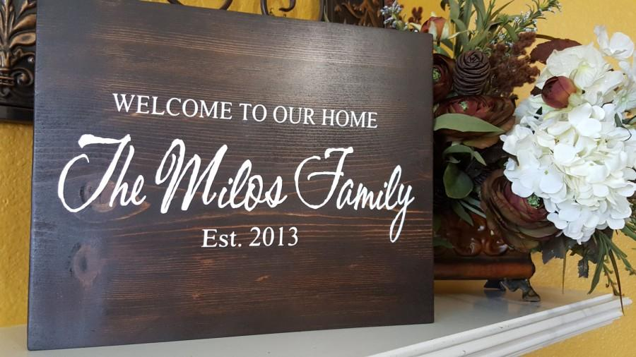Wedding - Personalized Family Last Name and Date Wood Sign- Welcome to Our Home Wedding Shower Gift Sign - Wedding Rustic Signs-Home Decor (2 sizes)