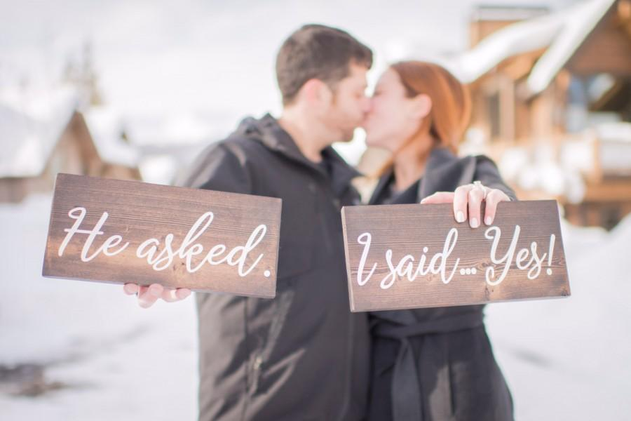 Wedding - He asked, I said Yes Signs - 2 wooden handpainted signs - Rustic Wedding Wood Sign - Bride Groom Sign - Wedding Photo Prop- Engagement Sign