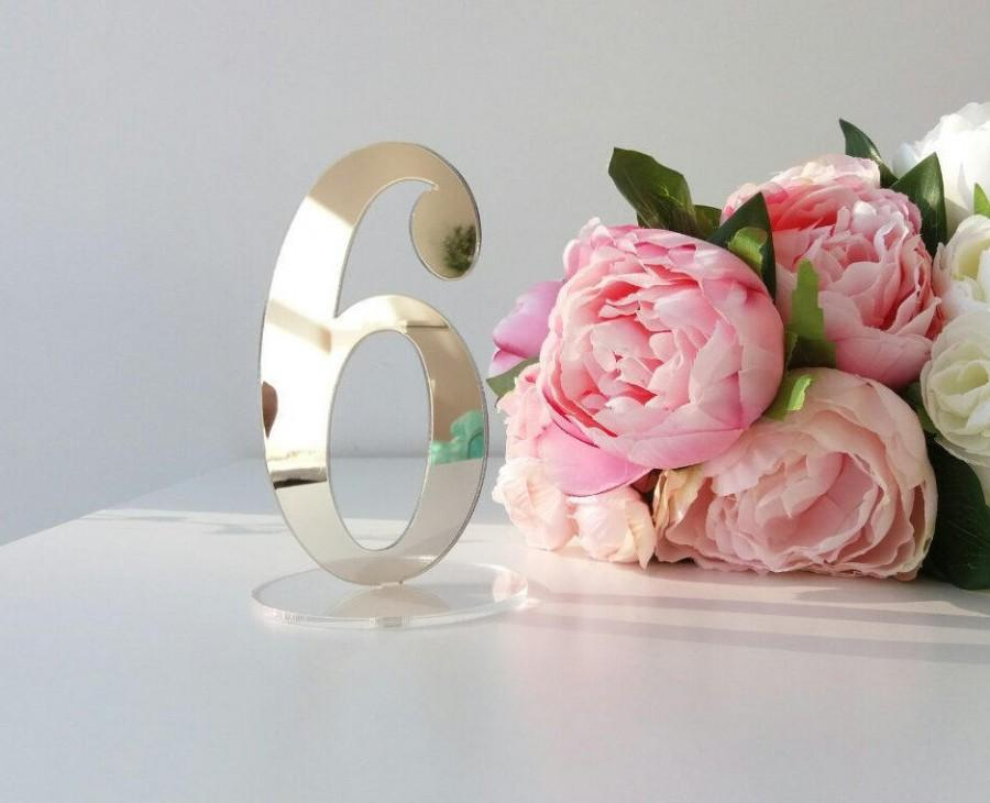 Mariage - Mirror Acrylic Table Numbers.Silver  Mirror Table Numbers. Table Numbers with base.Wedding Decor.