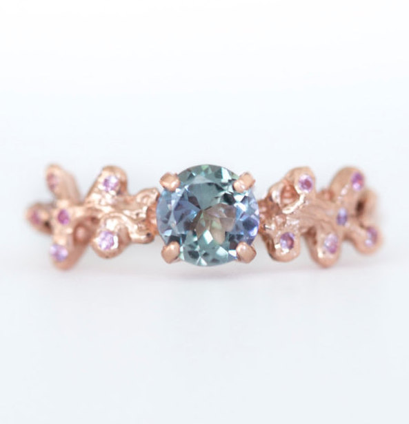 Wedding - Rose Gold Tanzanite Mermaid Coral Boho Ring- Pink Sapphire Accents - December birthstone - Unique Engagement Ring by Anueva