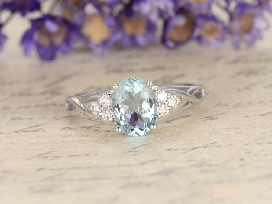 Hochzeit - Aquamarine engagement ring with diamond,Solid 14k White gold,promise ring,bridal,6x8mm oval cut custom made fine jewelry,Pave set