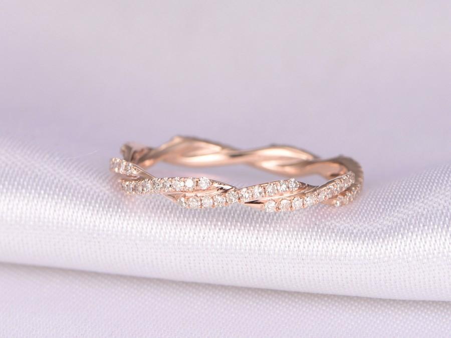 Criss Cross Ring Full Eternity Diamond Wedding Ring Twist Wedding