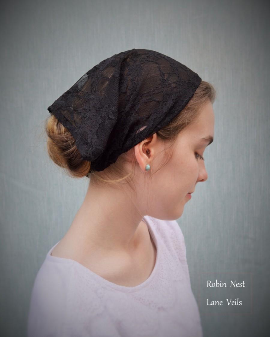 Wedding - Soft Black Lace Convertible Veil