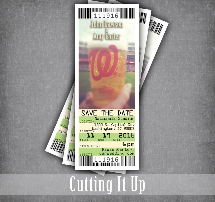Hochzeit - Save The Date Ticket, Baseball Wedding, Ticket Save The Date, Baseball Theme, Washington Nationals, MLB, Softball Wedding, DIY Template