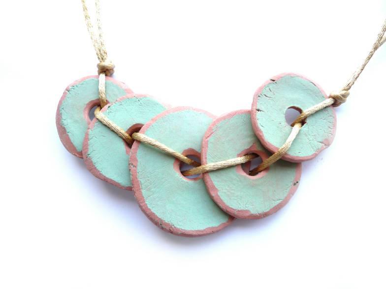 زفاف - Turquoise Necklace, Bib Necklace, Pottery Imitation, Pottery Necklace, Boho Necklace, Ethnic Necklace, One of a Kind, Turquoise Choker, Hobo