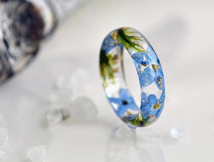 زفاف - resin ring, statement ring, resin jewelry, flower resin ring, forget-me-not, botanical ring, real flower jewelry, pressed flowers moss 17