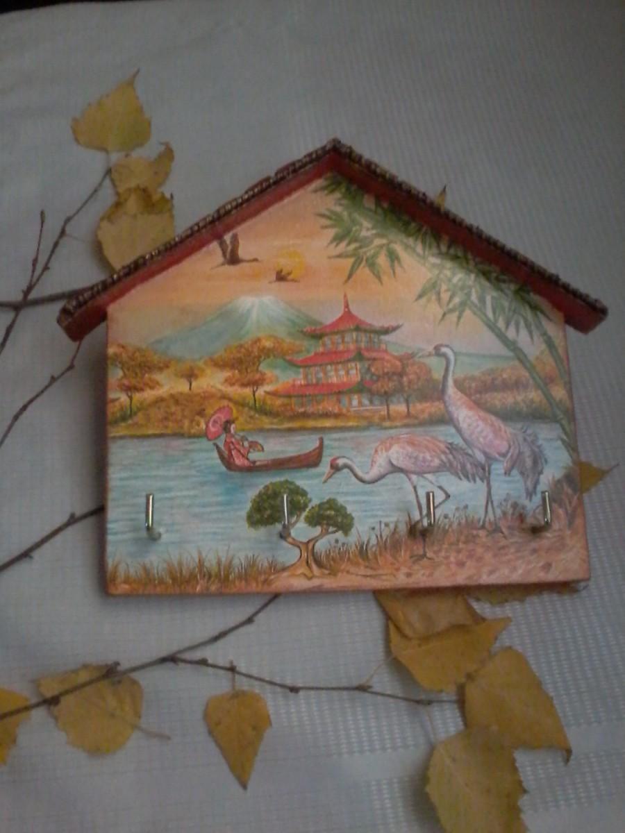 زفاف - Decorated Key Holder Mother's Day Birthday gift wall housekeeper gift for him  key organizer gift for sister  wooden key hanger wall hanger
